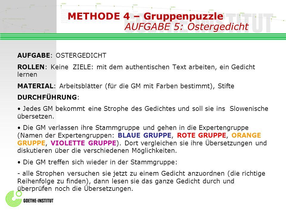 METHODE 4 – Gruppenpuzzle AUFGABE 5: Ostergedicht AUFGABE: OSTERGEDICHT ROLLEN: Keine ZIELE: mit dem authentischen Text arbeiten, ein Gedicht lernen M