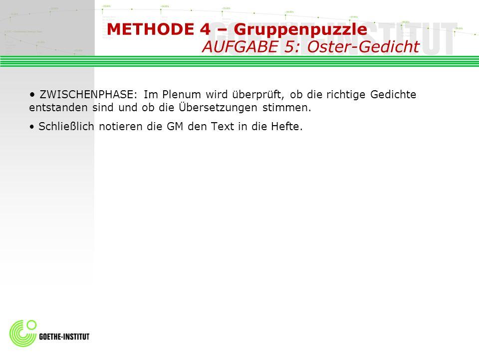 METHODE 4 – Gruppenpuzzle AUFGABE 5: Oster-Gedicht ZWISCHENPHASE: Im Plenum wird überprüft, ob die richtige Gedichte entstanden sind und ob die Überse