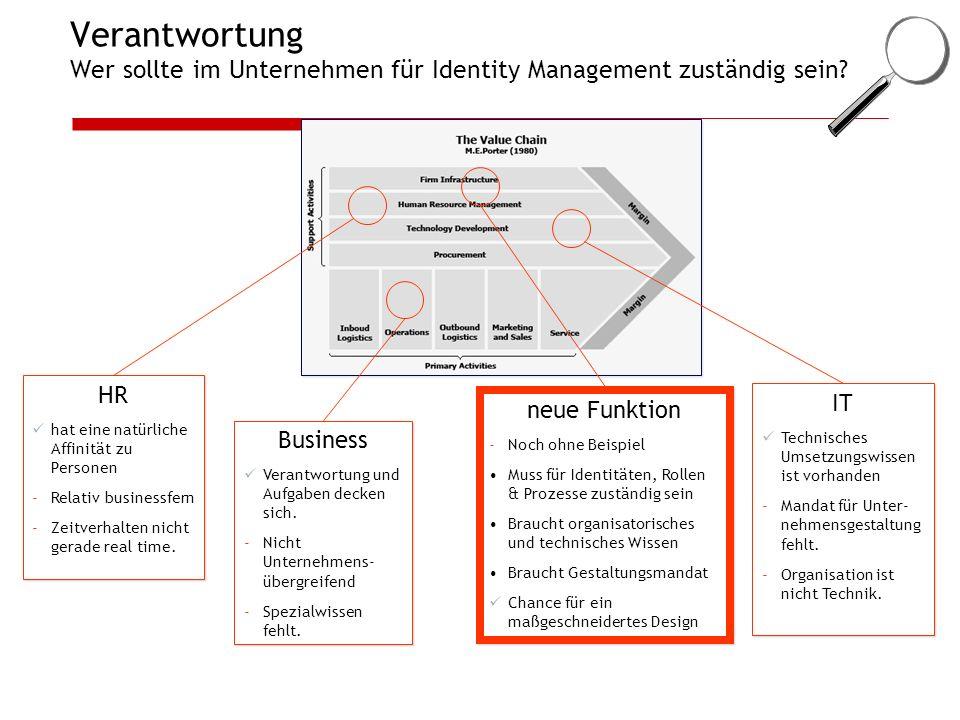 Verantwortung Wer sollte im Unternehmen für Identity Management zuständig sein? HR hat eine natürliche Affinität zu Personen -Relativ businessfern -Ze
