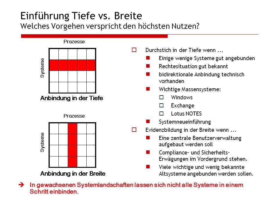 Einführung Tiefe vs. Breite Welches Vorgehen verspricht den höchsten Nutzen? Durchstich in der Tiefe wenn... Einige wenige Systeme gut angebunden Rech