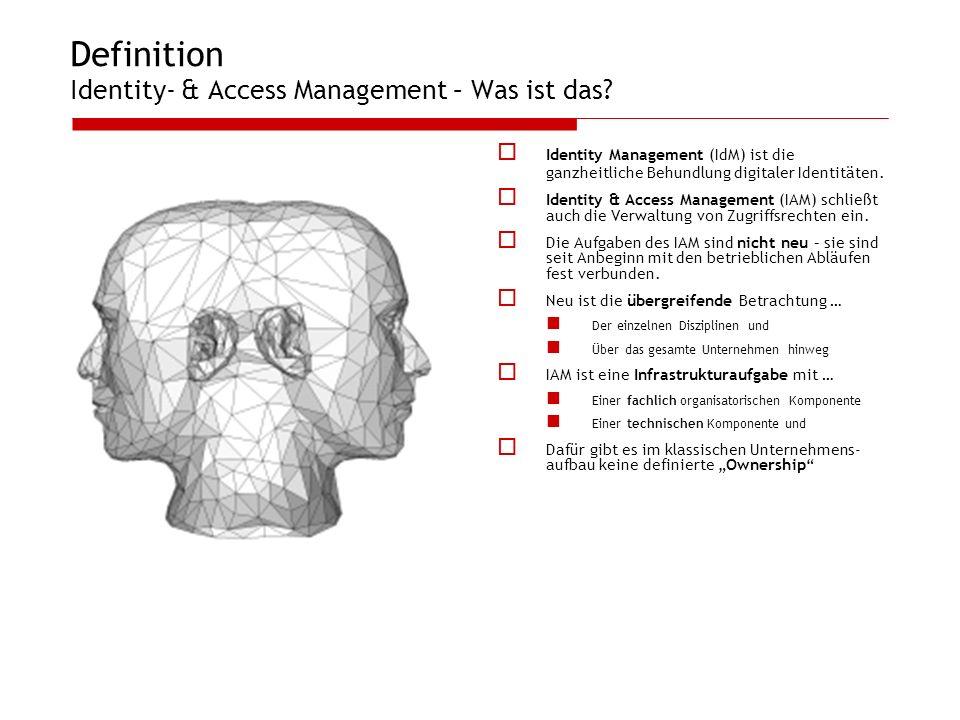 Definition Identity- & Access Management – Was ist das? Identity Management (IdM) ist die ganzheitliche Behundlung digitaler Identitäten. Identity & A
