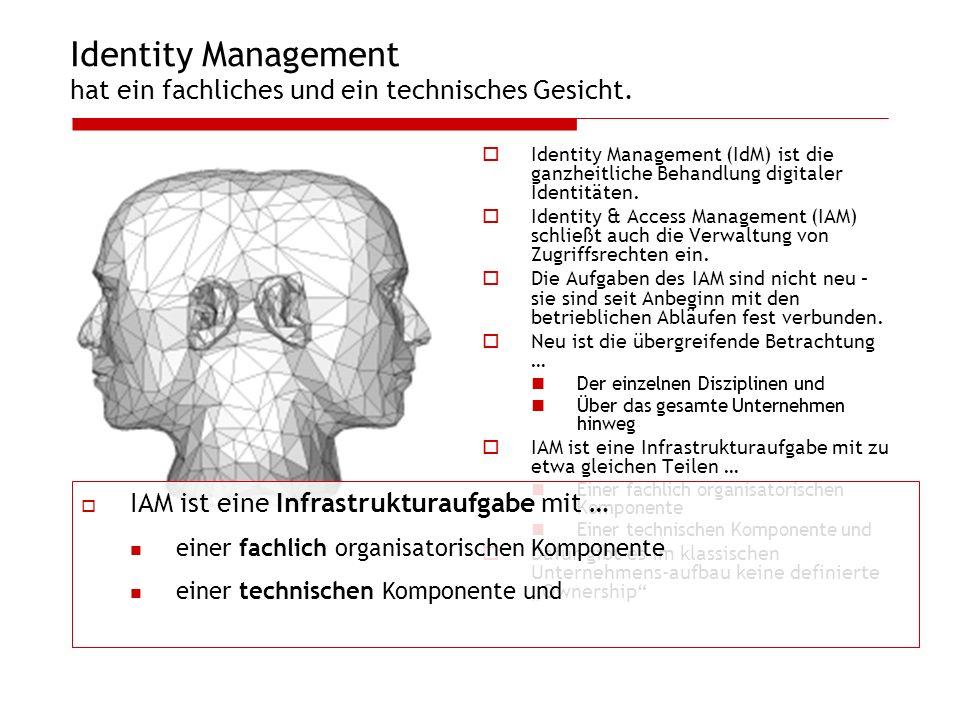 Identity Management hat ein fachliches und ein technisches Gesicht. Identity Management (IdM) ist die ganzheitliche Behandlung digitaler Identitäten.