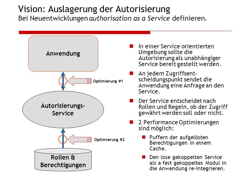 Vision: Auslagerung der Autorisierung Bei Neuentwicklungen authorisation as a Service definieren. In einer Service orientierten Umgebung sollte die Au