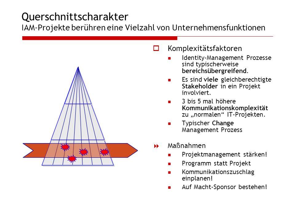 Querschnittscharakter IAM-Projekte berühren eine Vielzahl von Unternehmensfunktionen Komplexitätsfaktoren Identity-Management Prozesse sind typischerw