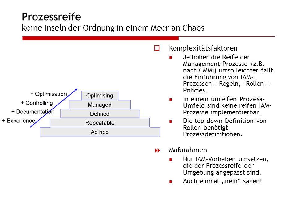 Prozessreife keine Inseln der Ordnung in einem Meer an Chaos Komplexitätsfaktoren Je höher die Reife der Management-Prozesse (z.B. nach CMMi) umso lei