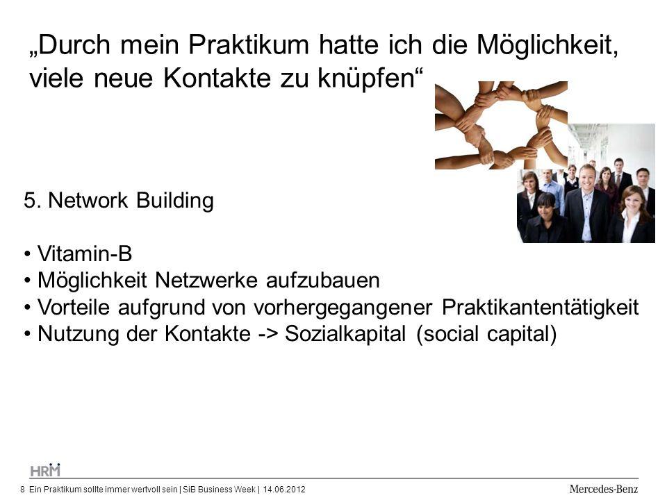 Ein Praktikum sollte immer wertvoll sein | SiB Business Week | 14.06.20128 Durch mein Praktikum hatte ich die Möglichkeit, viele neue Kontakte zu knüp