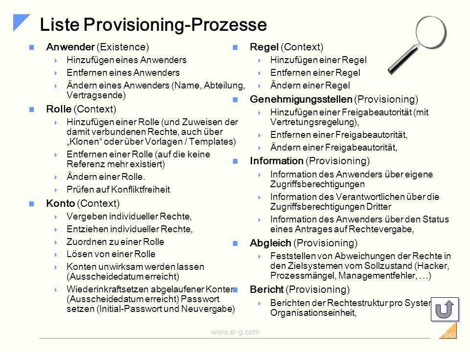 SiG www.si-g.com Provisioning - Produktivität und Sicherheit Einstellung oder neue Funktion Zugriffsrecht beantragen Zugriffsrecht genehmigen Konto ei