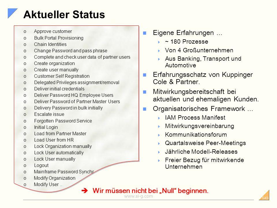 SiG www.si-g.com Gefordert – der Prozessbaukasten Sammeln implementierter IAM- Prozesse Herausfaktorisieren von Gemeinsamkeiten. unternehmensübergreif