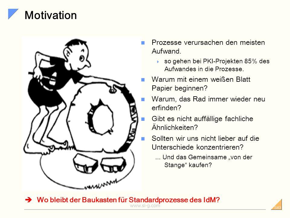 SiG www.si-g.com Motivation Prozesse verursachen den meisten Aufwand.