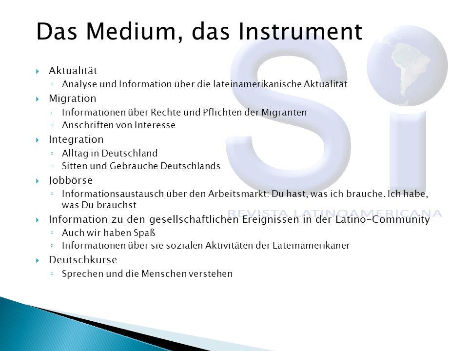 Das Medium, das Instrument Aktualität Analyse und Information über die lateinamerikanische Aktualität Migration Informationen über Rechte und Pflichte