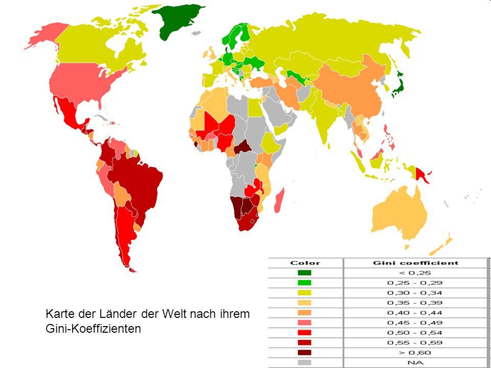 Karte der Länder der Welt nach ihrem Gini-Koeffizienten