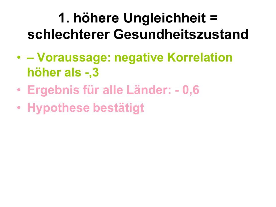 1. höhere Ungleichheit = schlechterer Gesundheitszustand – Voraussage: negative Korrelation höher als -,3 Ergebnis für alle Länder: - 0,6 Hypothese be