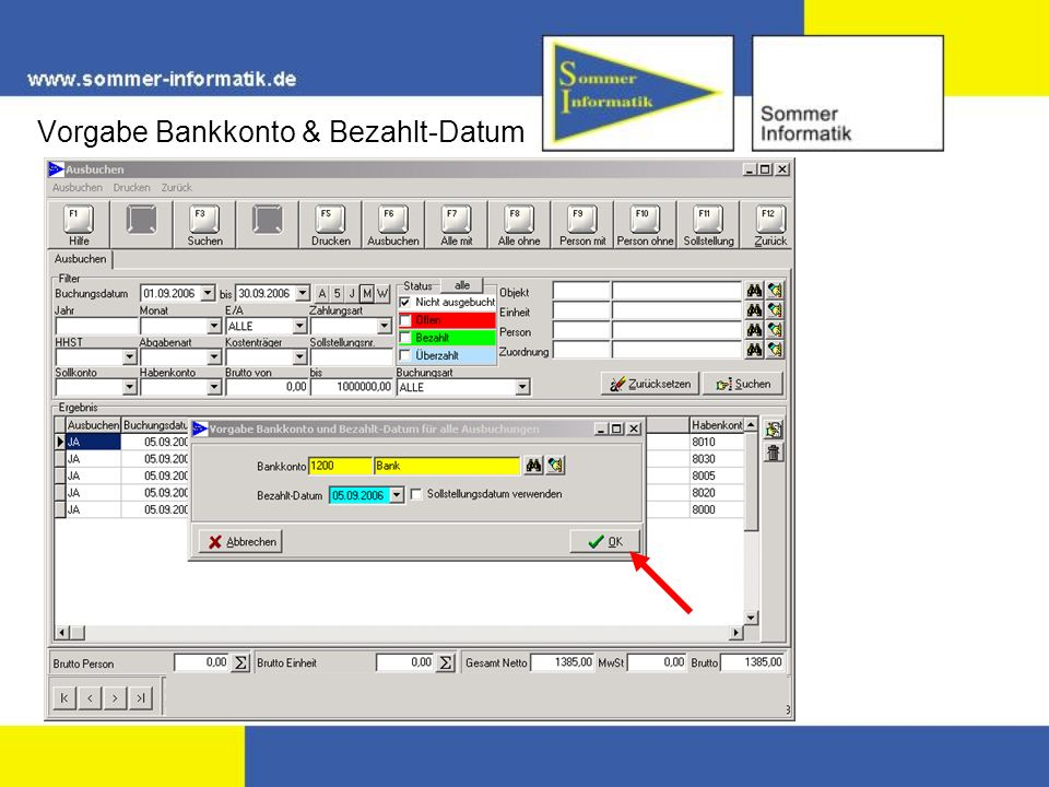 Vorgabe Bankkonto & Bezahlt-Datum
