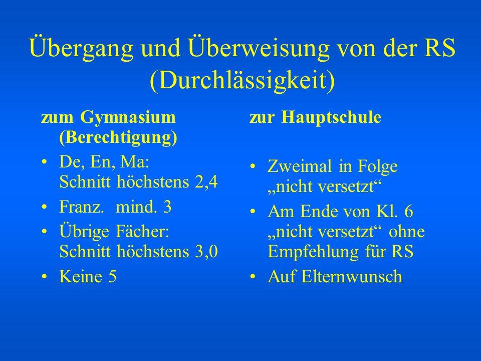 Übergang und Überweisung von der RS (Durchlässigkeit) zum Gymnasium (Berechtigung) De, En, Ma: Schnitt höchstens 2,4 Franz. mind. 3 Übrige Fächer: Sch