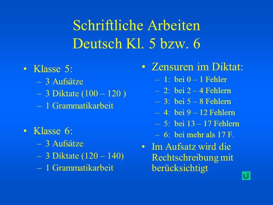Schriftliche Arbeiten Deutsch Kl. 5 bzw. 6 Klasse 5: –3 Aufsätze –3 Diktate (100 – 120 ) –1 Grammatikarbeit Klasse 6: –3 Aufsätze –3 Diktate (120 – 14