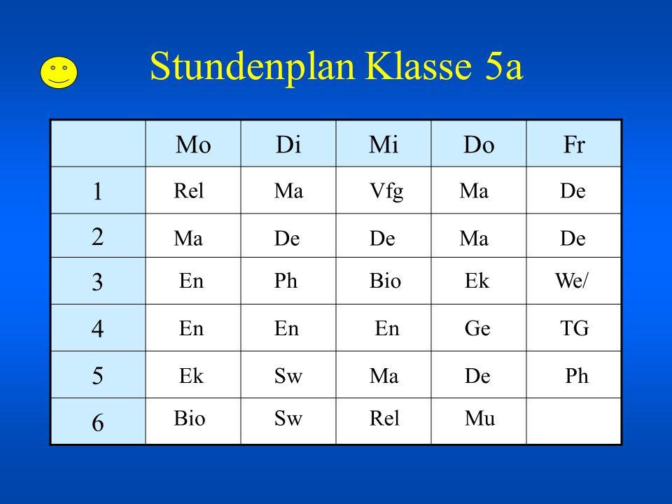 Stundenplan Klasse 5a MoDiMiDoFr 1 2 3 4 5 6 De En Ma Bio Ge Ek Ph Mu We/ TG Rel Sw Vfg Ph