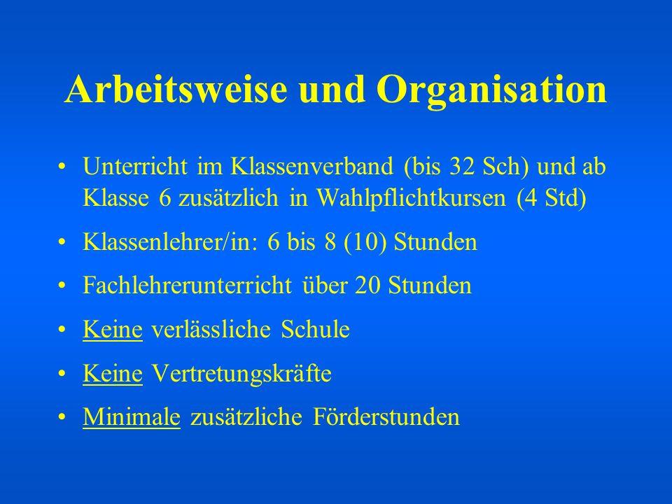 Arbeitsweise und Organisation Unterricht im Klassenverband (bis 32 Sch) und ab Klasse 6 zusätzlich in Wahlpflichtkursen (4 Std) Klassenlehrer/in: 6 bi
