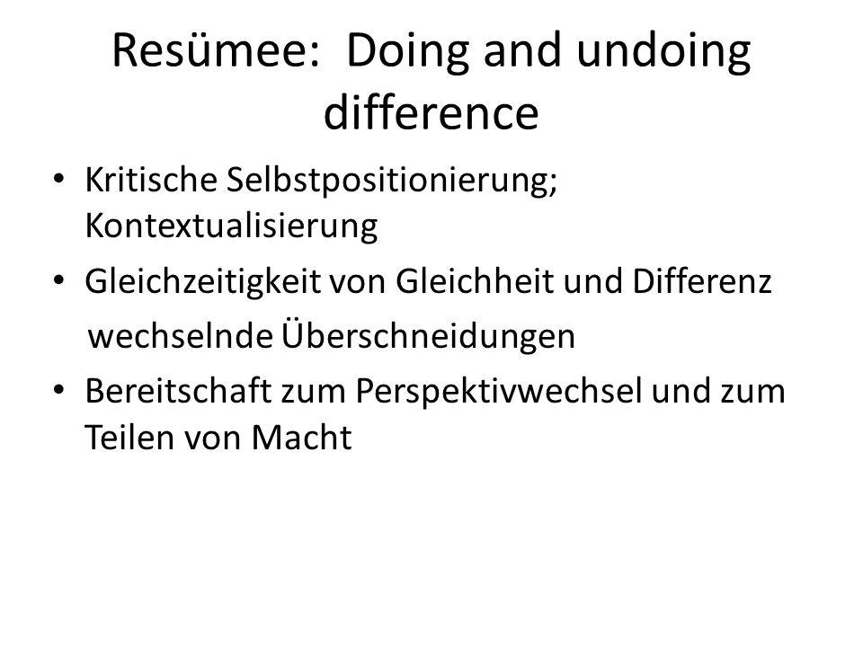 Resümee: Doing and undoing difference Kritische Selbstpositionierung; Kontextualisierung Gleichzeitigkeit von Gleichheit und Differenz wechselnde Über