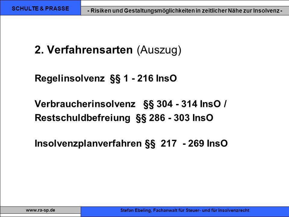SCHULTE & PRASSE - Risiken und Gestaltungsmöglichkeiten in zeitlicher Nähe zur Insolvenz - Xxx Stefan Ebeling, Fachanwalt für Steuer- und für Insolvenzrecht www.ra-sp.de 2.
