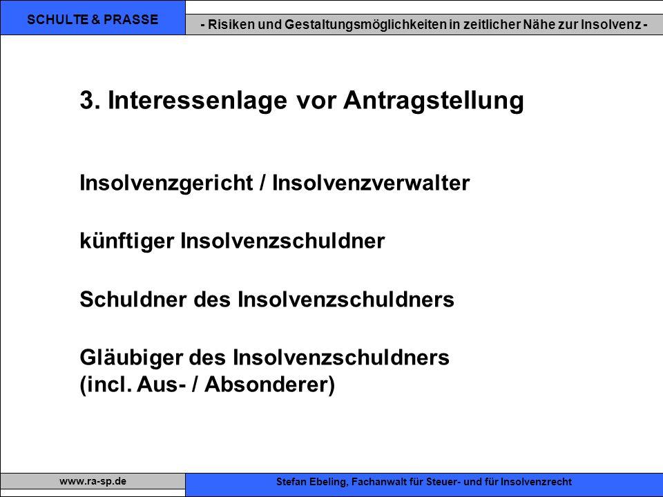 SCHULTE & PRASSE - Risiken und Gestaltungsmöglichkeiten in zeitlicher Nähe zur Insolvenz - Xxx Stefan Ebeling, Fachanwalt für Steuer- und für Insolvenzrecht www.ra-sp.de 3.