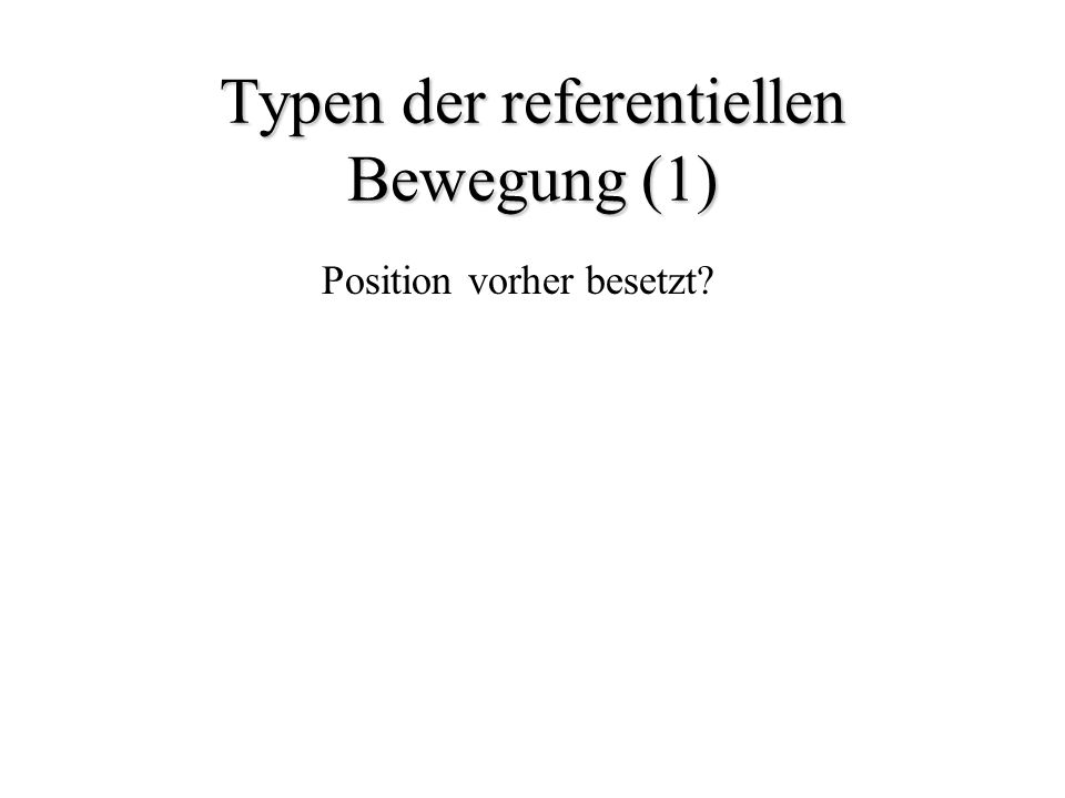 Typen der referentiellen Bewegung (1) Position vorher besetzt?