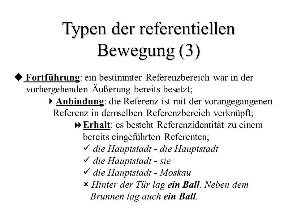 Typen der referentiellen Bewegung (3) Fortführung: ein bestimmter Referenzbereich war in der vorhergehenden Äußerung bereits besetzt; Anbindung: die R