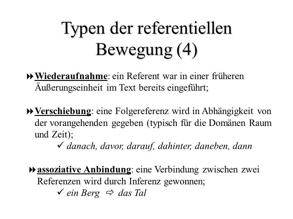 Typen der referentiellen Bewegung (4) Wiederaufnahme: ein Referent war in einer früheren Äußerungseinheit im Text bereits eingeführt; Verschiebung: ei