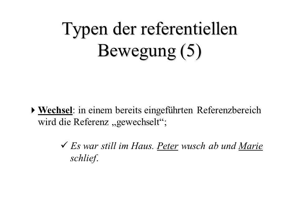Typen der referentiellen Bewegung (5) Wechsel: in einem bereits eingeführten Referenzbereich wird die Referenz gewechselt; Es war still im Haus. Peter