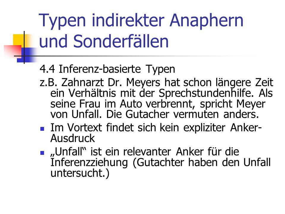 Typen indirekter Anaphern und Sonderfällen 4.4 Inferenz-basierte Typen z.B.