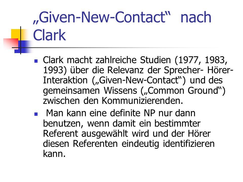 Given-New-Contact nach Clark Clark macht zahlreiche Studien (1977, 1983, 1993) über die Relevanz der Sprecher- Hörer- Interaktion (Given-New-Contact) und des gemeinsamen Wissens (Common Ground) zwischen den Kommunizierenden.