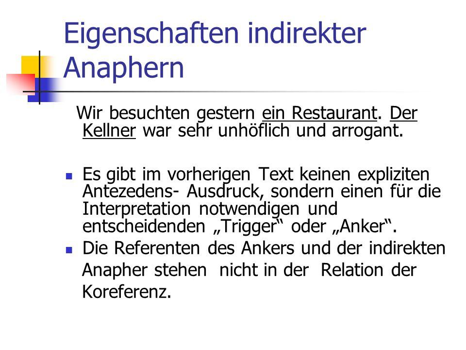 Eigenschaften indirekter Anaphern Wir besuchten gestern ein Restaurant. Der Kellner war sehr unhöflich und arrogant. Es gibt im vorherigen Text keinen