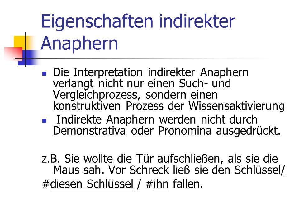 Eigenschaften indirekter Anaphern Die Interpretation indirekter Anaphern verlangt nicht nur einen Such- und Vergleichprozess, sondern einen konstruktiven Prozess der Wissensaktivierung Indirekte Anaphern werden nicht durch Demonstrativa oder Pronomina ausgedrückt.