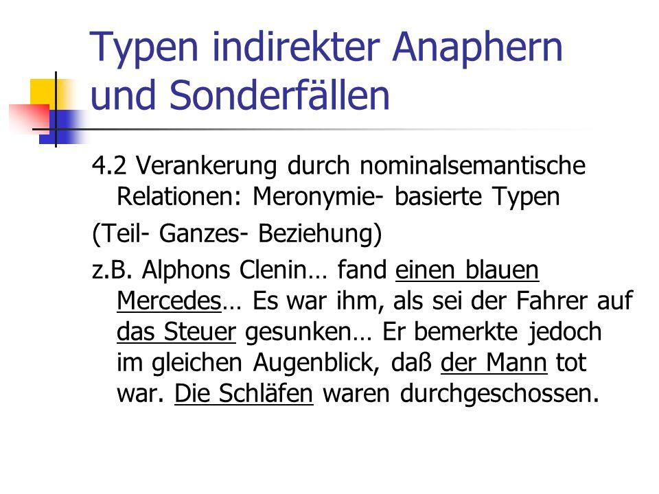 Typen indirekter Anaphern und Sonderfällen 4.2 Verankerung durch nominalsemantische Relationen: Meronymie- basierte Typen (Teil- Ganzes- Beziehung) z.B.