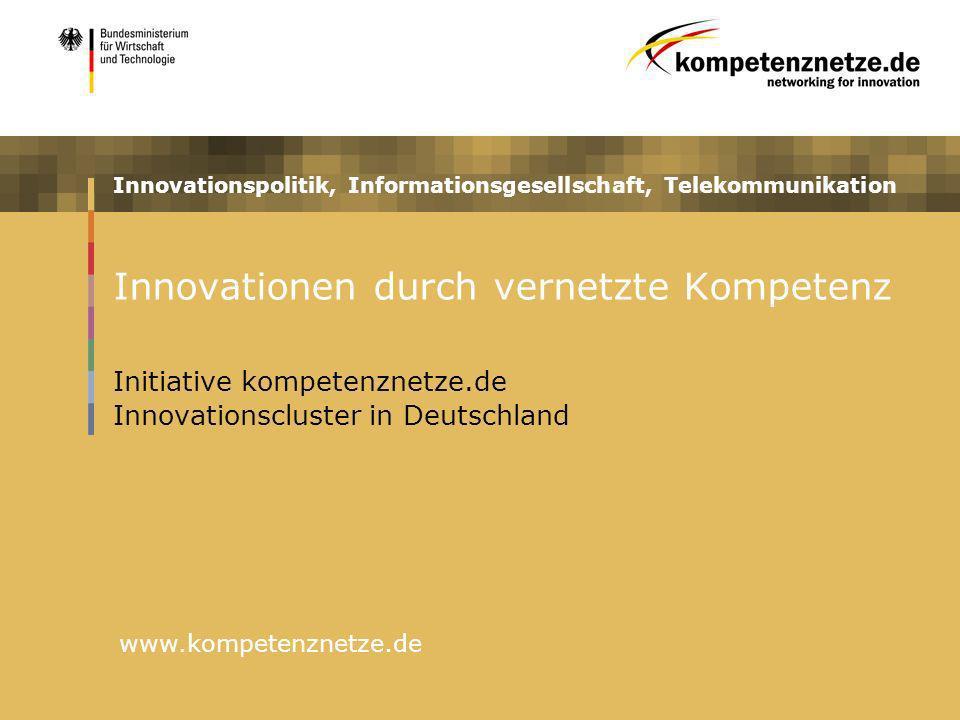 Innovationspolitik, Informationsgesellschaft, Telekommunikation www.kompetenznetze.de Innovationen durch vernetzte Kompetenz Initiative kompetenznetze