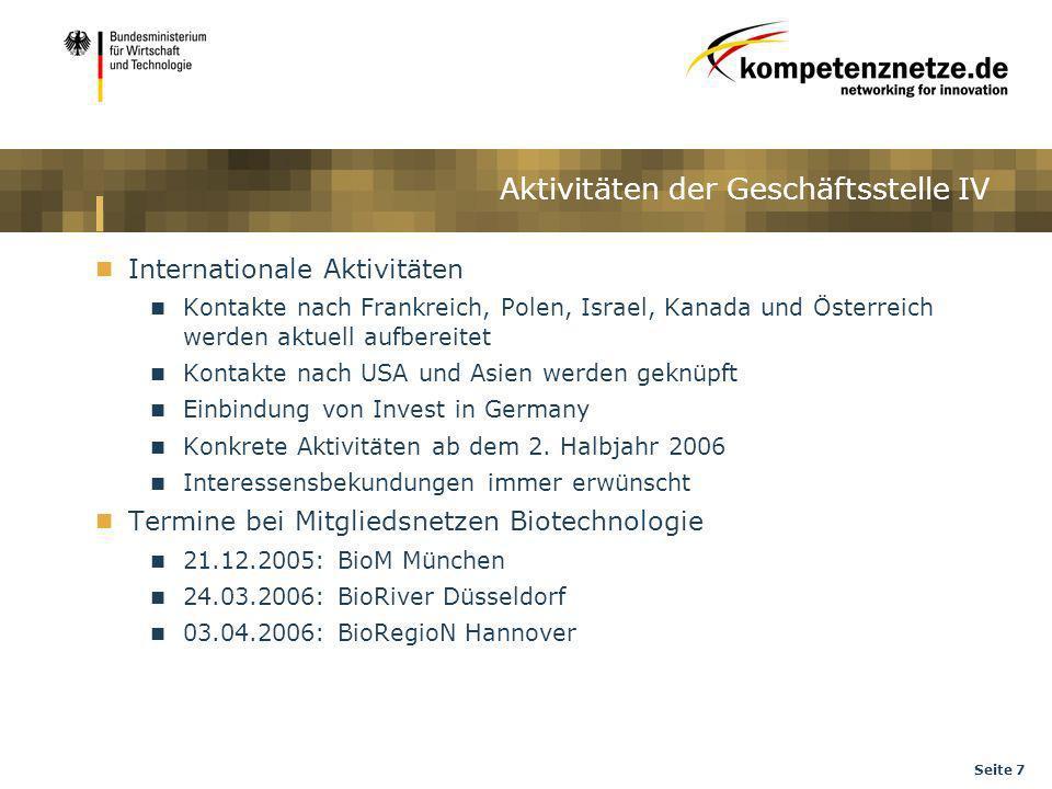 Seite 7 Internationale Aktivitäten Kontakte nach Frankreich, Polen, Israel, Kanada und Österreich werden aktuell aufbereitet Kontakte nach USA und Asi