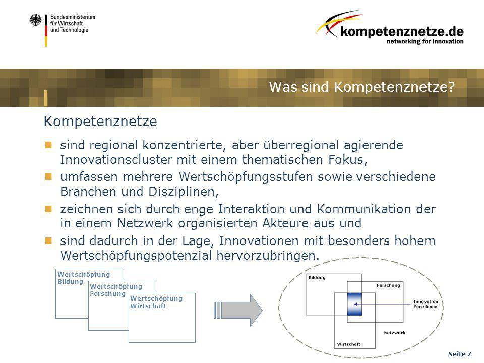 Seite 7 Was sind Kompetenznetze? Kompetenznetze sind regional konzentrierte, aber überregional agierende Innovationscluster mit einem thematischen Fok