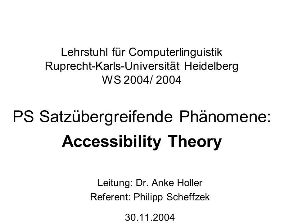 Lehrstuhl für Computerlinguistik Ruprecht-Karls-Universität Heidelberg WS 2004/ 2004 PS Satzübergreifende Phänomene: Accessibility Theory Leitung: Dr.
