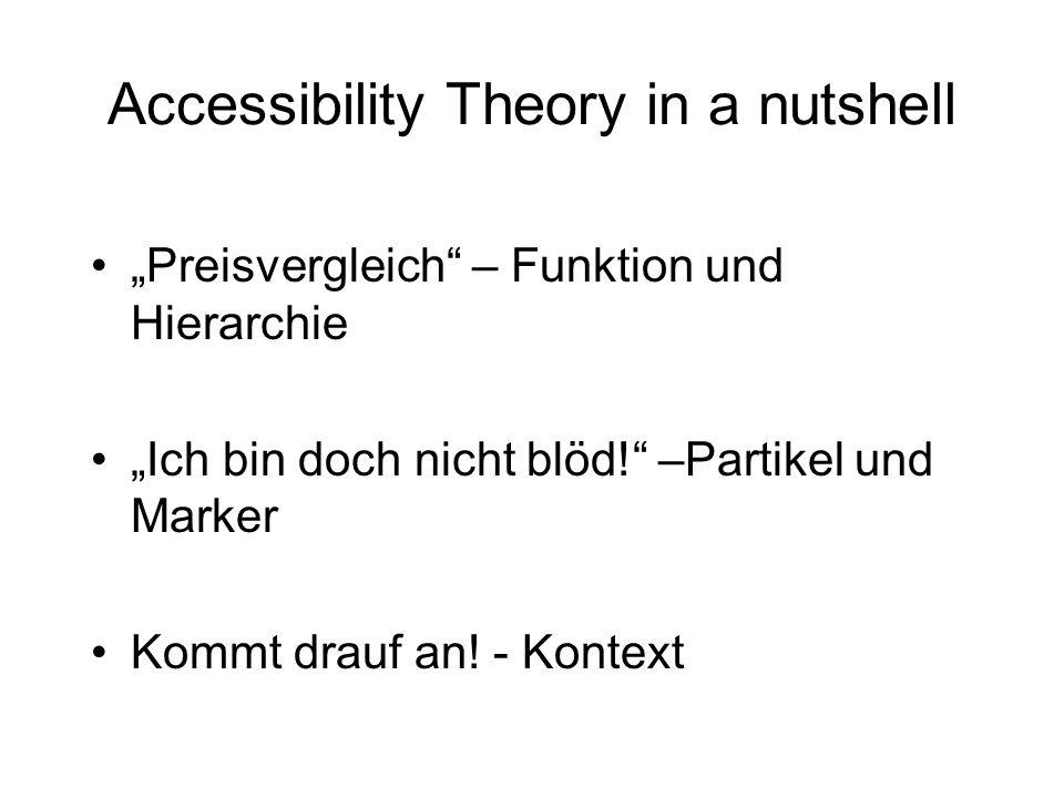 Accessibility Theory in a nutshell Preisvergleich – Funktion und Hierarchie Ich bin doch nicht blöd! –Partikel und Marker Kommt drauf an! - Kontext