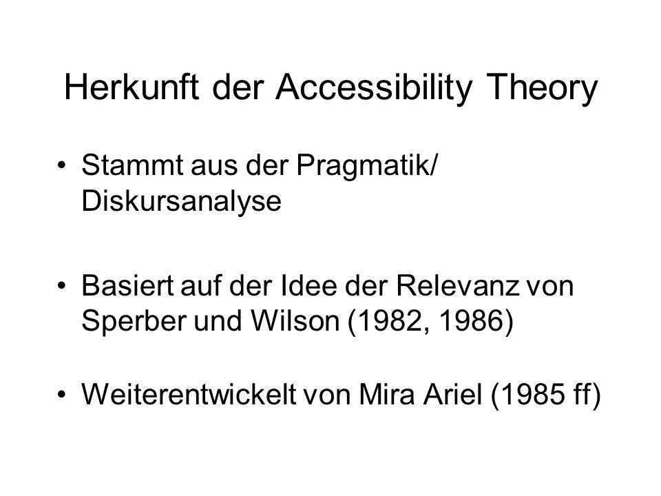 Herkunft der Accessibility Theory Stammt aus der Pragmatik/ Diskursanalyse Basiert auf der Idee der Relevanz von Sperber und Wilson (1982, 1986) Weite