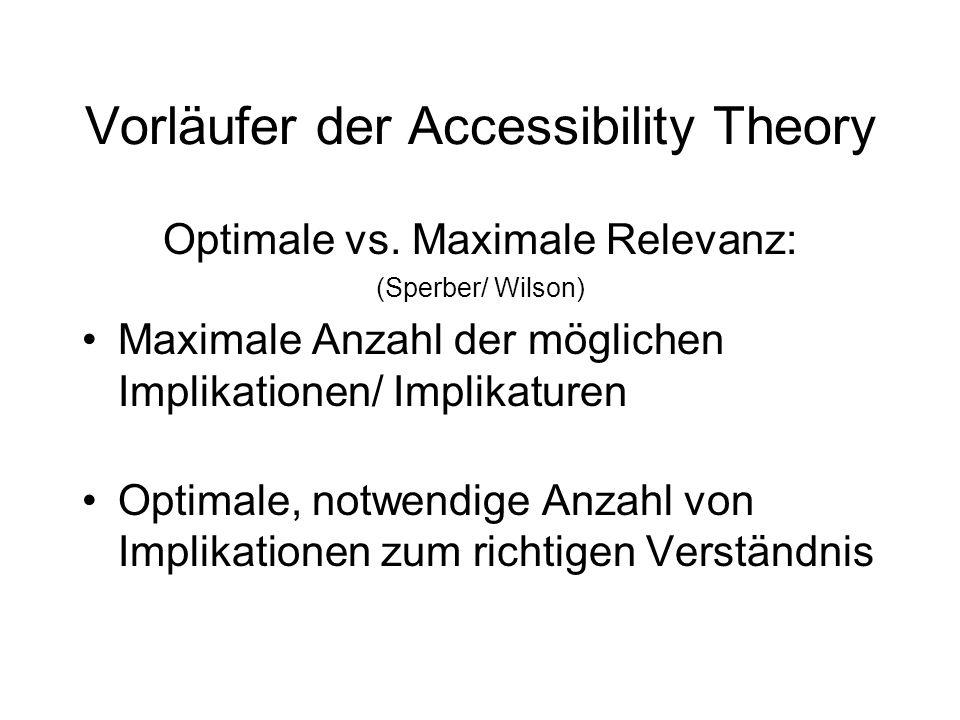 Vorläufer der Accessibility Theory Optimale vs. Maximale Relevanz: (Sperber/ Wilson) Maximale Anzahl der möglichen Implikationen/ Implikaturen Optimal