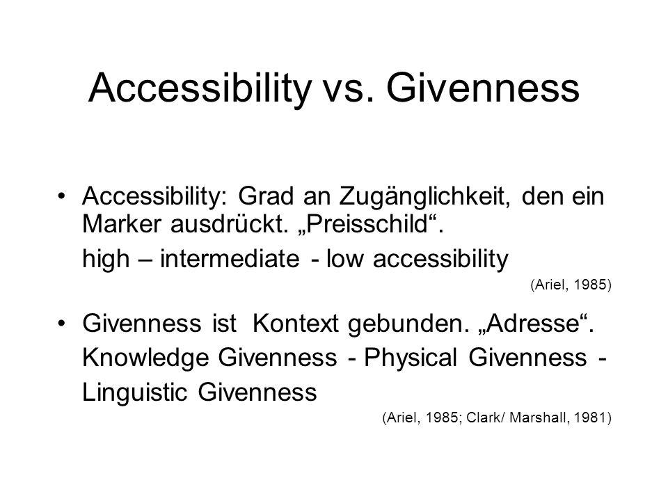 Accessibility Theory in a nutshell Preisvergleich – Funktion und Hierarchie Ich bin doch nicht blöd.