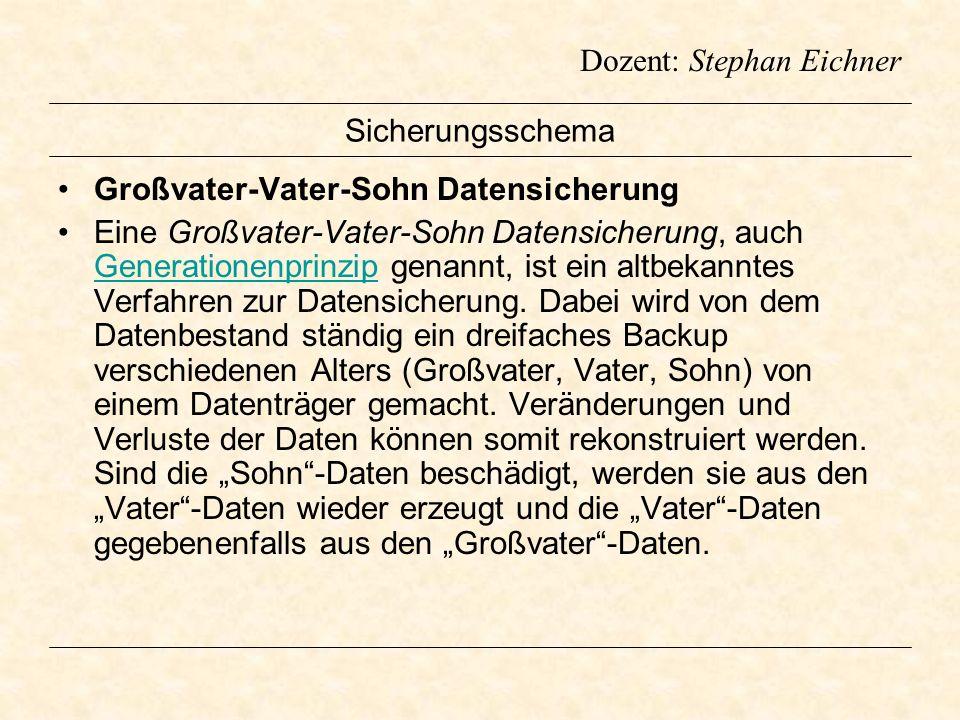 Dozent: Stephan Eichner Sicherungsschema Großvater-Vater-Sohn Datensicherung Eine Großvater-Vater-Sohn Datensicherung, auch Generationenprinzip genann