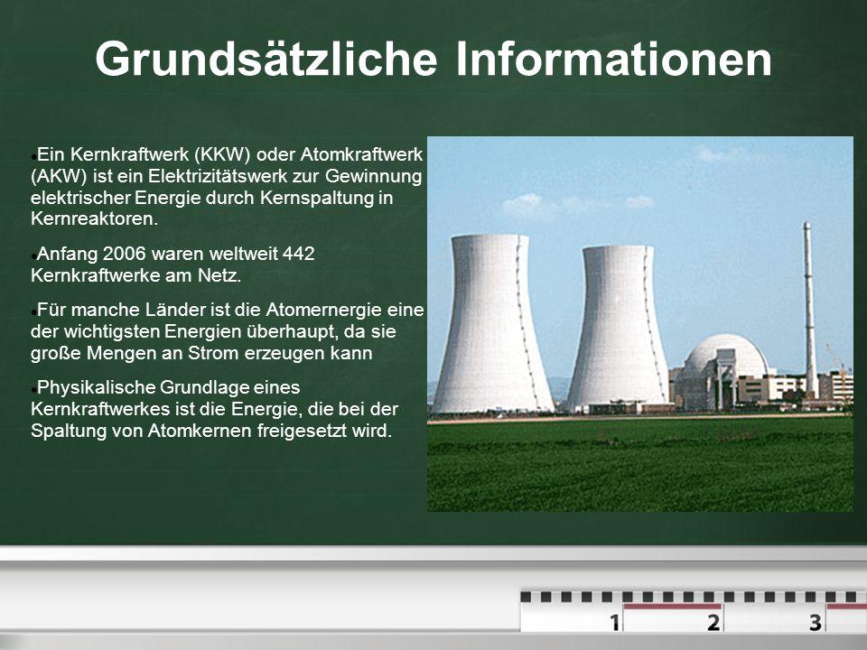 Grundsätzliche Informationen Ein Kernkraftwerk (KKW) oder Atomkraftwerk (AKW) ist ein Elektrizitätswerk zur Gewinnung elektrischer Energie durch Kerns
