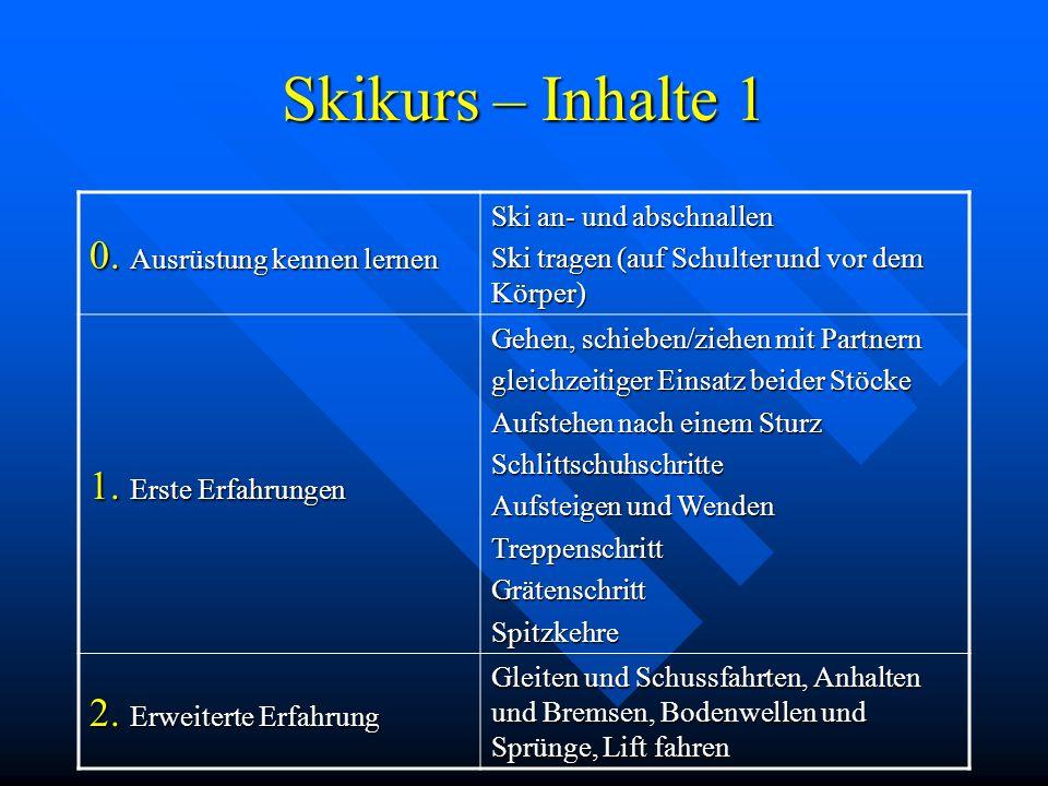 Skikurs – Inhalte 1 0. Ausrüstung kennen lernen Ski an- und abschnallen Ski tragen (auf Schulter und vor dem Körper) 1. Erste Erfahrungen Gehen, schie