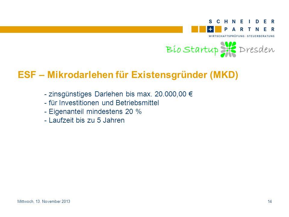 Bio Startup Dresden Titel der PräsentationTitel der Präsentation Mittwoch, 13. November 201314 ESF – Mikrodarlehen für Existensgründer (MKD) - zinsgün