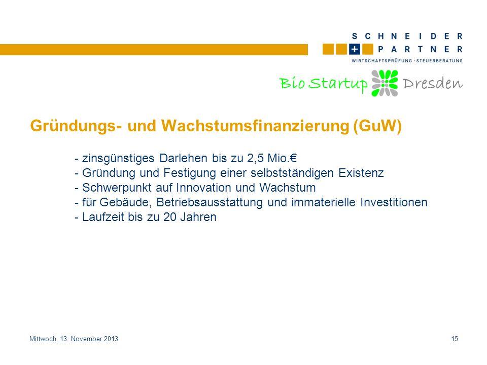 Bio Startup Dresden Titel der PräsentationTitel der Präsentation Mittwoch, 13. November 201315 Gründungs- und Wachstumsfinanzierung (GuW) - zinsgünsti