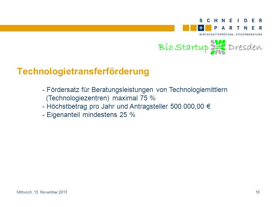 Bio Startup Dresden Titel der PräsentationTitel der Präsentation Mittwoch, 13. November 201319 Technologietransferförderung - Fördersatz für Beratungs