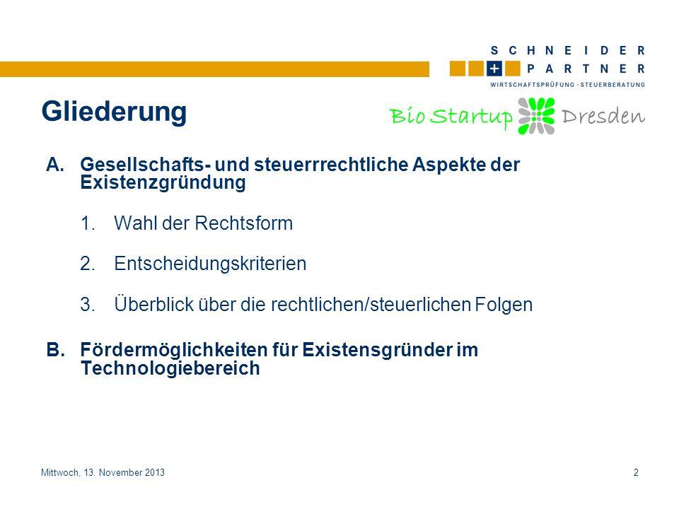 Bio Startup Dresden Titel der PräsentationTitel der Präsentation Mittwoch, 13. November 20132 A.Gesellschafts- und steuerrrechtliche Aspekte der Exist