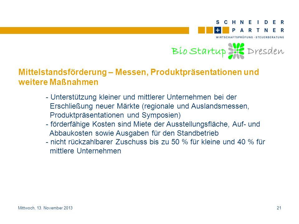 Bio Startup Dresden Titel der PräsentationTitel der Präsentation Mittwoch, 13. November 201321 Mittelstandsförderung – Messen, Produktpräsentationen u