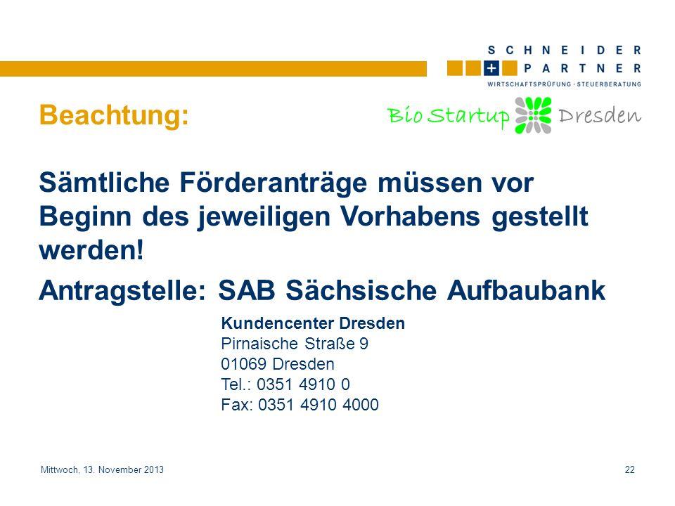 Bio Startup Dresden Titel der PräsentationTitel der Präsentation Mittwoch, 13. November 201322 Beachtung: Sämtliche Förderanträge müssen vor Beginn de